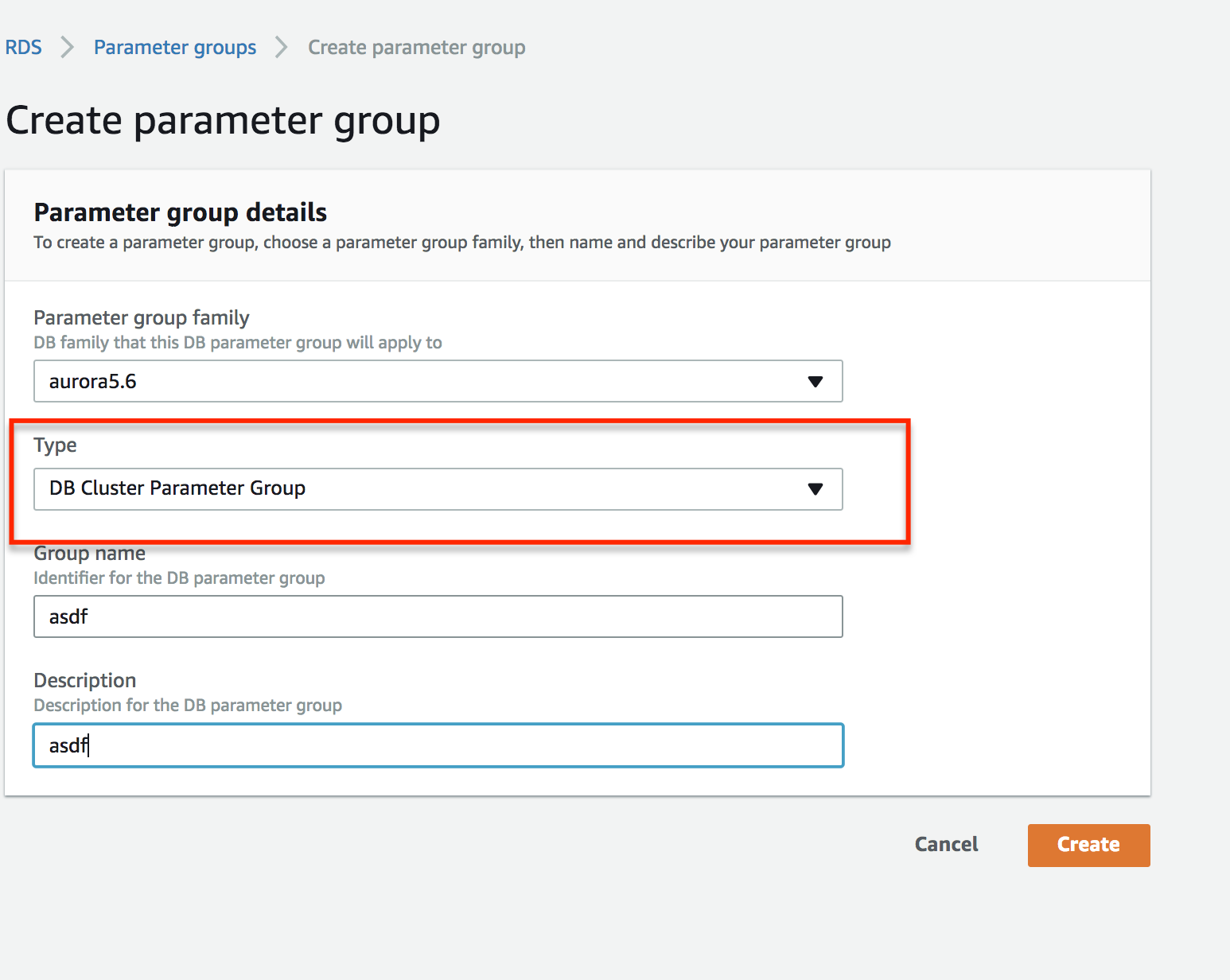 Parameter Group Creation 2